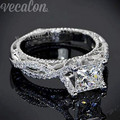 Vecalon 2016 Antigo Romântico Feminino anel 2ct Simulado de diamante Cz 925 Sterling Silver Engagement wedding Band anel para mulheres