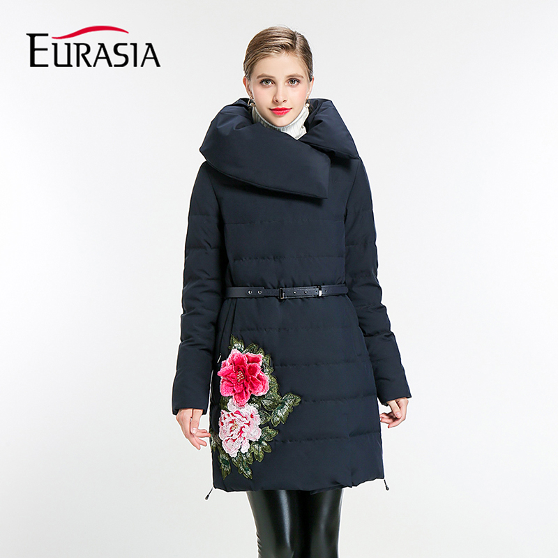 Eurasia Time-limited Full 2017 New Women Winter Jacket Embroidery Floral Sashes Parka Thick Outerwear Clothing Coat Y170009 new time new time n62