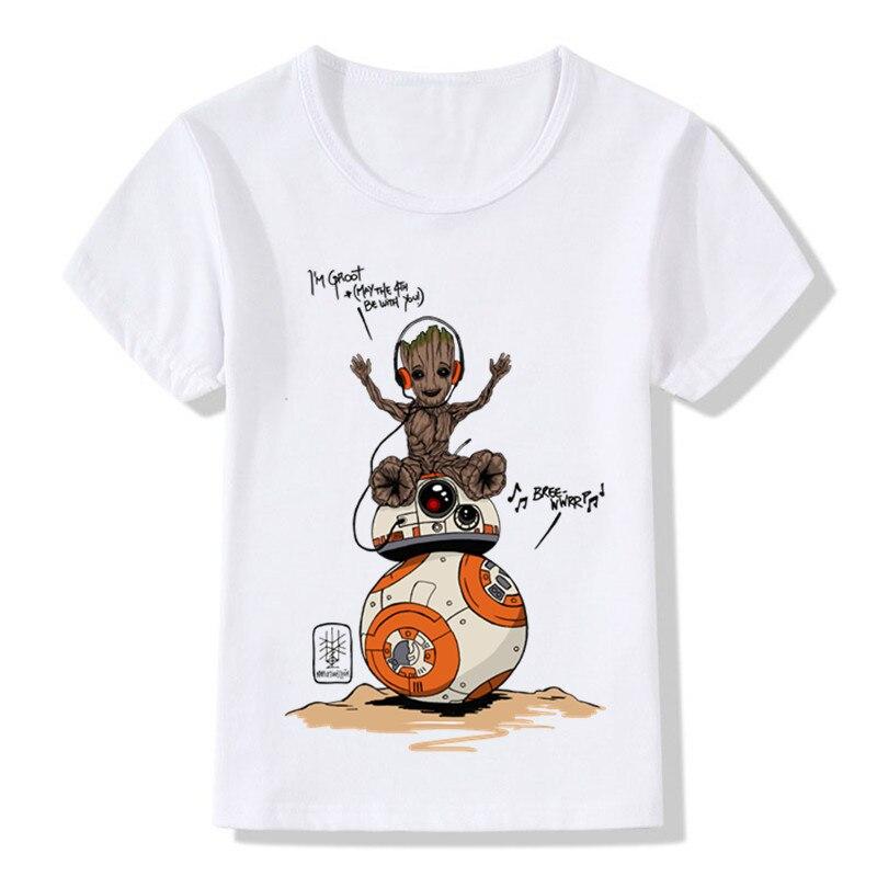 Cute Baby BB-8 Design Children's Funny T shirt Boys Girls Star Wars Summer T-shirt Kids Casual Clothes,HKP5164