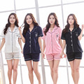 New Style Women Cotton Pajamas Sets 2017 Summer Design Elegant Lovers Sleepwear Female Satin Silk Pajamas Causal Home Clothes