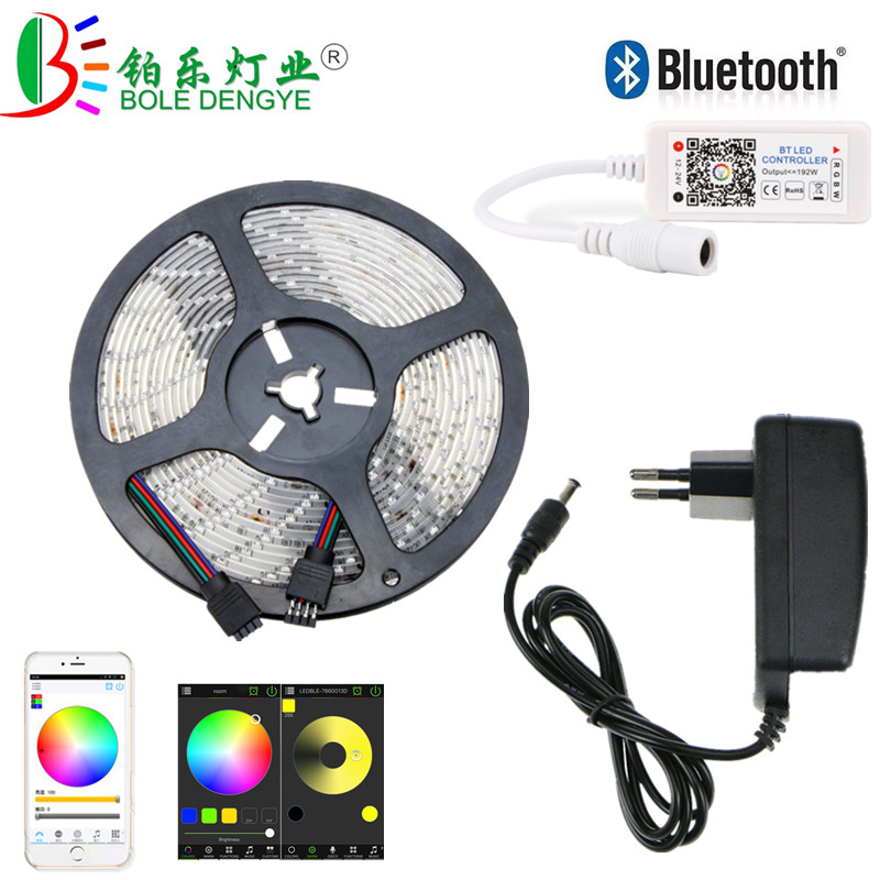 5M 10M 15M LED Strip 12V 60 leds/m Waterproof Flexible RGB Tape Ribbon SMD 2835 Rope String Lamp Light+WiFi Bluetooth Controller 5m 10m rgb led strip 12v 60 leds m smd 2835 waterproof flexible tape ribbon colorful rope light string lamp led controller power