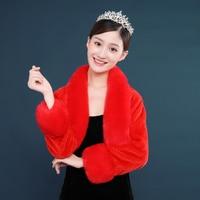 New Wedding Winter Bolero Women Faux Fur Shawl Elegant red Cape One Size Fur Cape Real Photos Long Sleeve Bridal Wrap