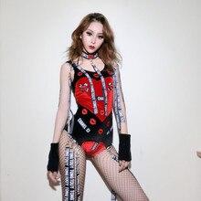 2018 nueva Original Roja disfraces de danza de Jazz para señora Sexy body  mujeres Bar Dj bailarines etapa moda Sexy cantante tra. 4da008da29e