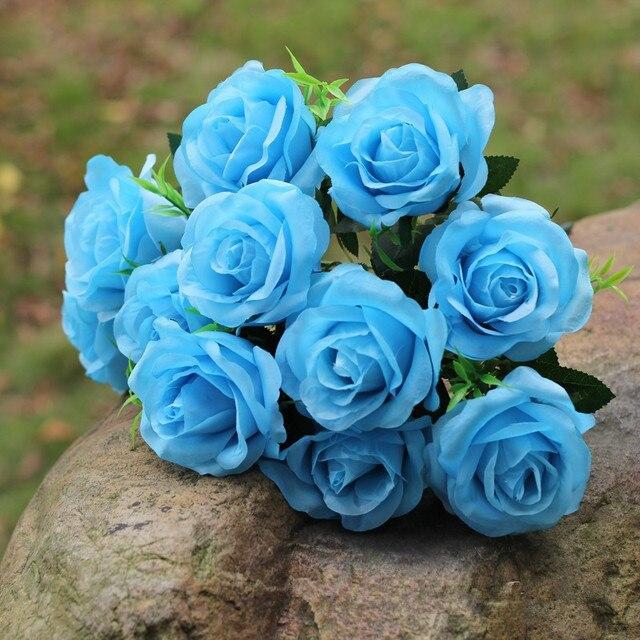 Mini Blue Bouquet Artificial Rose Flower Silk Fake Flower Bouquet 11 ...