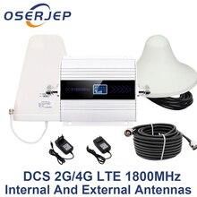 LCD Hiển Thị GSM Repeater 1800 Mhz 4G Di Động Di Động Khuếch Đại Tín Hiệu booster DCS 1800 nội bộ/ngoài trời ăng ten