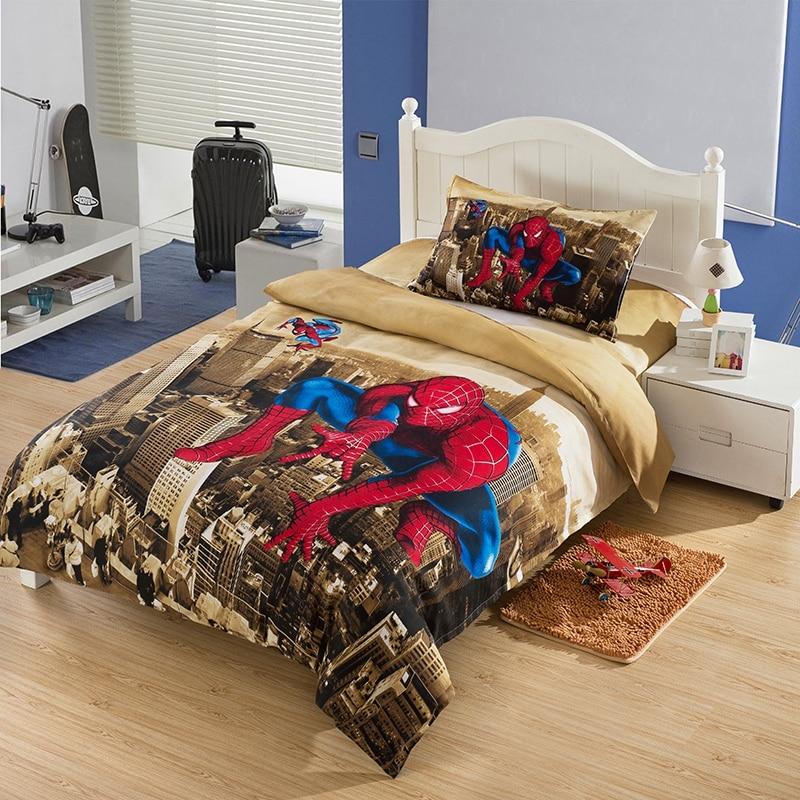Cute Spiderman Cartoon Kids Bedding Sets Twin Size Boys Bed Sheets Quilt Duvet Covers Children