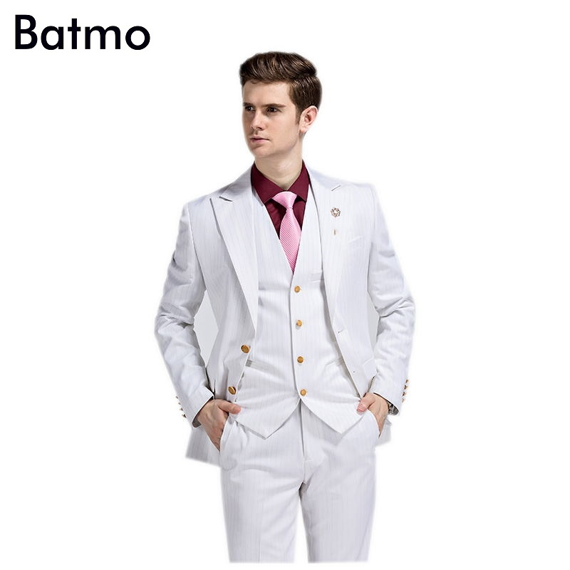 ✓2016 new arrival High quality striped white suits men efbc408a2df7