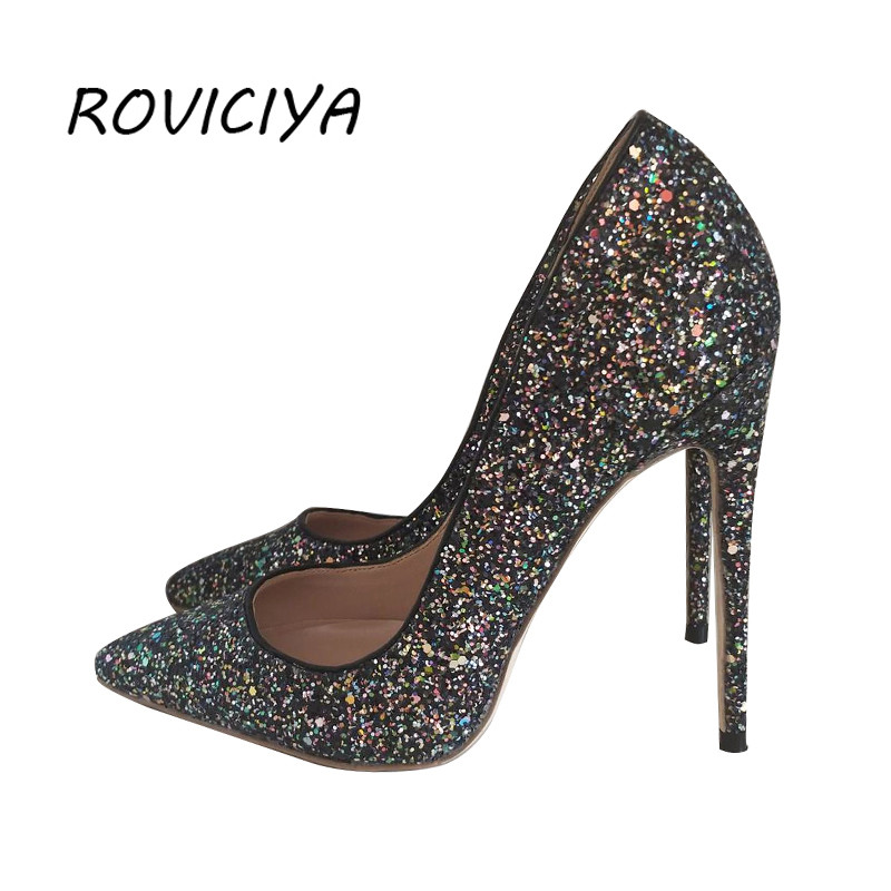 Black Glitter wedding shoes 12 cm high heel pumps sexy stiletto heels  shallow party shoes for women LF005 ROVICIYA 0fdefbcb25