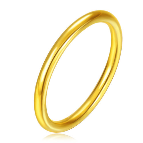 New Pure 24K Yellow Gold Smooth-Shape Ring Band Size 6-9