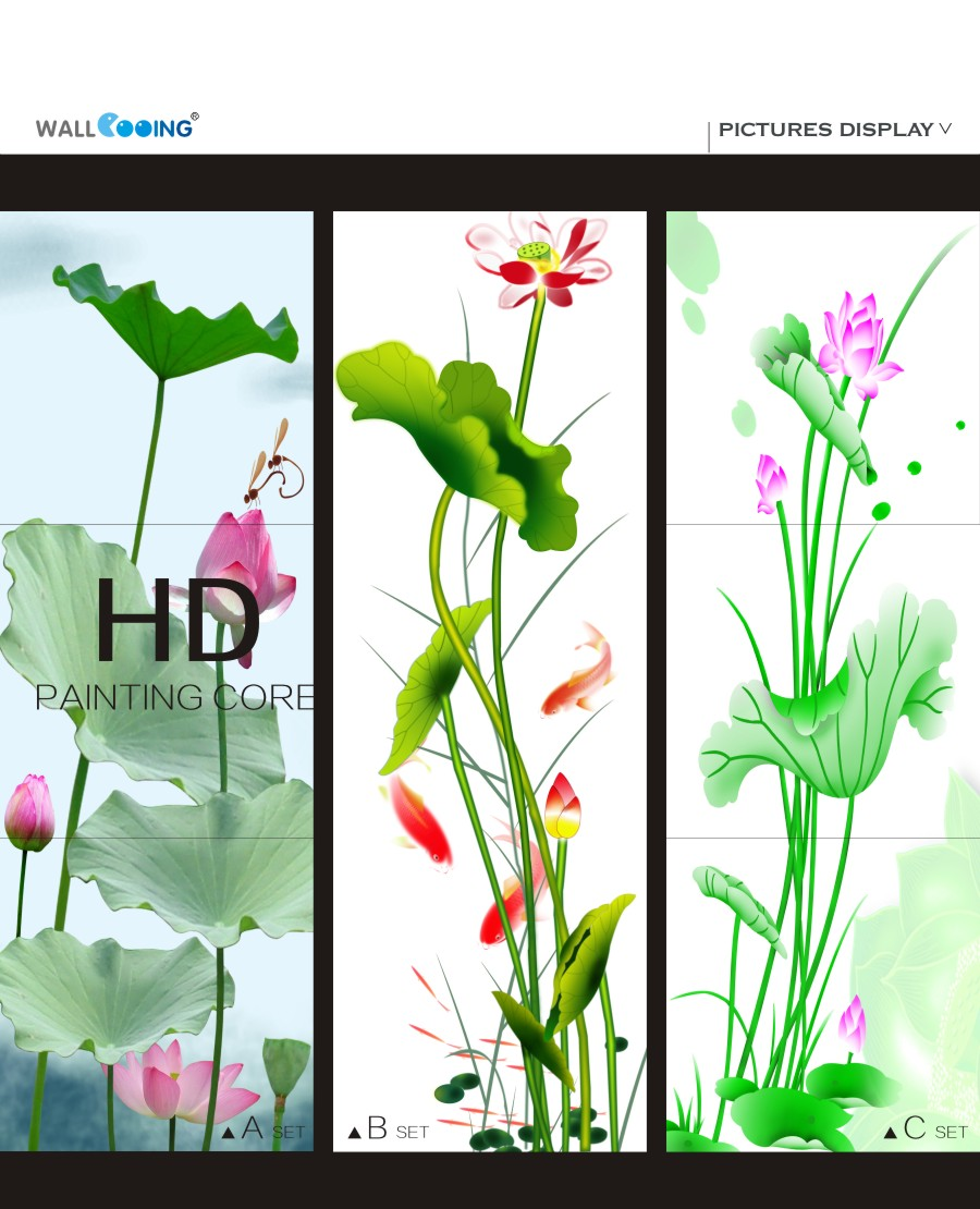 3 Panels Green Lotus Flower Art Paint Canvas Wall Painting