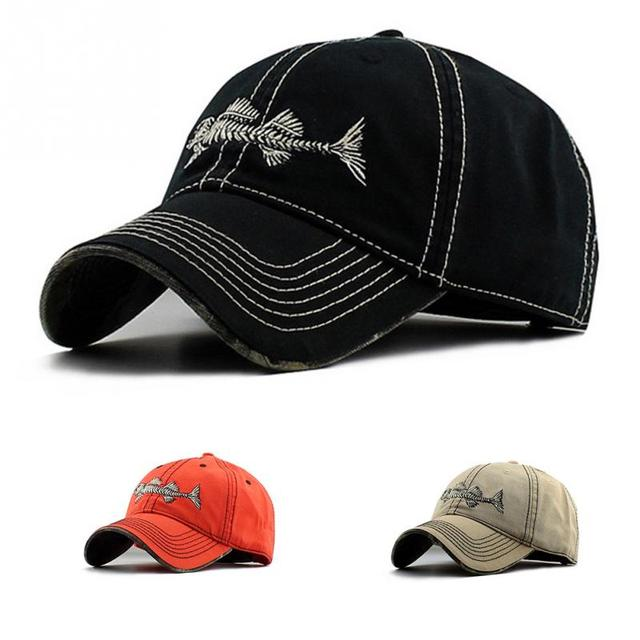 719453797e779 Unisex Embroidery Fish Black Casual Brand Baseball Hats Men Fashion  Adjustable Fish Bone Pattern Baseball Caps Snapback Hat 2019