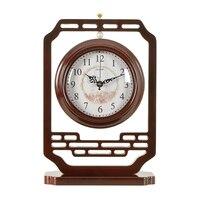 1 шт. китайский деревянный ретро двусторонняя часы гостиная немой Классическая большой настольные часы настольные кварцевые часы маятник