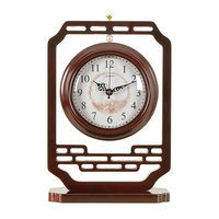 1PCS Chinese wooden retro double sided clock living room mute classical large table clock table quartz clock pendulum LU614532