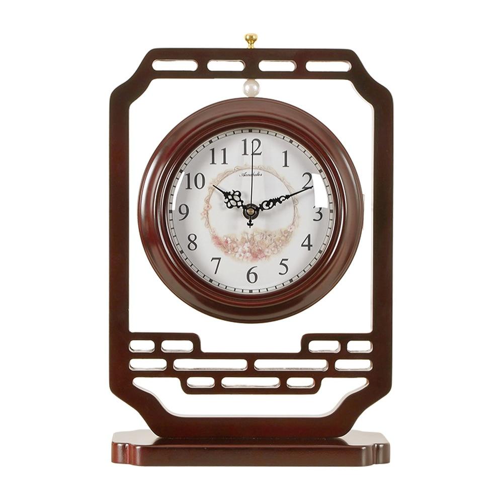 1PCS Chinese wooden retro double sided clock living room mute classical large table clock table quartz clock pendulum LU614532