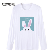 Easter Eggs printed long sleeve Modal T-shirt men Bunny print Tees O-neck casual tops for tshirt homme COYICHENOL