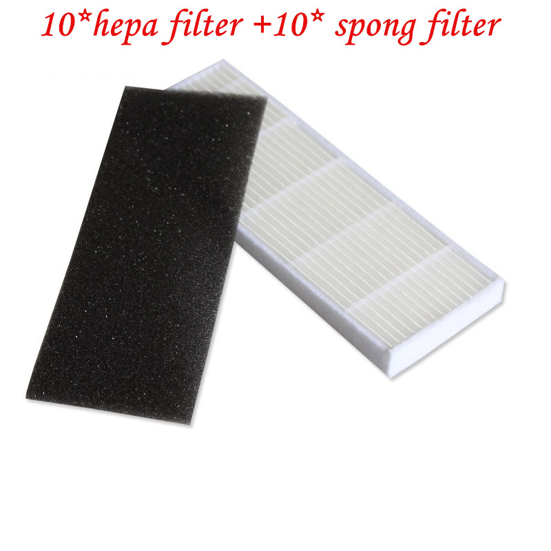 10*HEPA filter+10*Sponge Filters for chuwi ILIFE A4 Robot Vacuum Cleaner ILIFE A4s A6 A4 A40 Cleaning Robot Vacuum Cleaner parts robot vacuum cleaner hepa filter sponge filters for ilife v8 v8s x750 a7 x800 x785 v80 robotic vacuum cleaner parts accessories