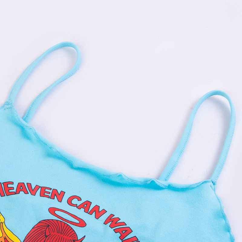 Damskie seksowne ramiączka falbany wykończenia rury krótki top śliczny mały diabeł nadruk liter Harajuku Camisole Slim śmieszne Streetwear
