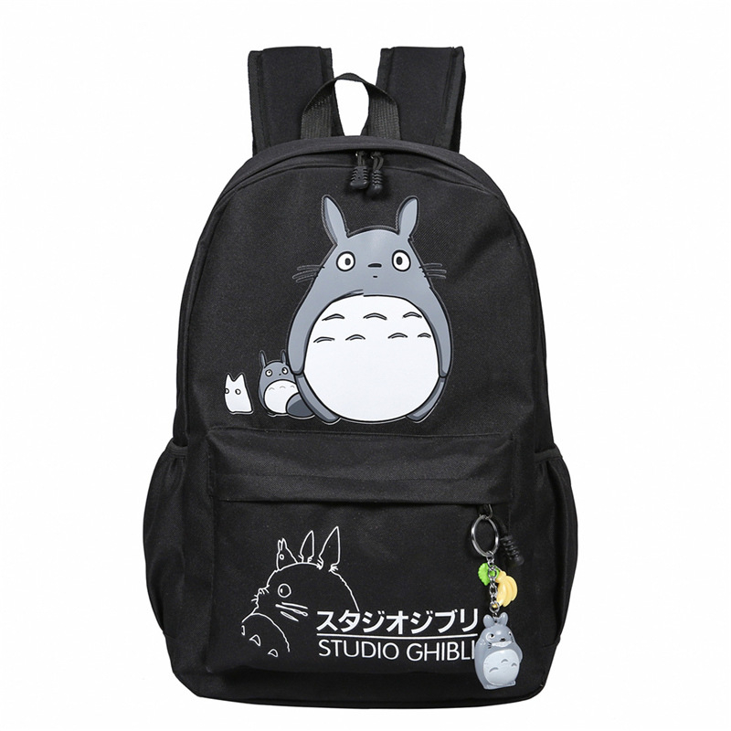 Japanese Anime bags and Totoro Backpack Cute Totoro Cartoon Printing Canvas Backpacks School bag for Teenagers Girls Travel Bag