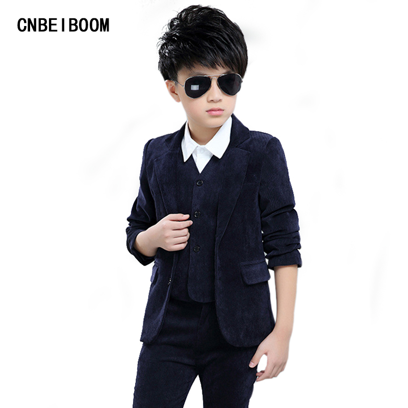 2017 Brand 3PCS Boys Formal Suit Kids 3 12 Year Solid Wedding Tuxedo Suit England Style