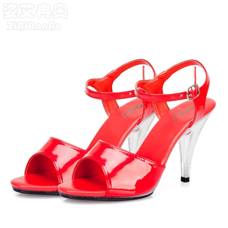 Summer Fashion Shoes Woman Pretty Red Wedding Women Pumps 10CM Transparent Crystal High Heels Shallow Peep Toe Women's Sandal siketu 2017 free shipping spring and autumn women shoes fashion sex high heels shoes red wedding shoes pumps g107