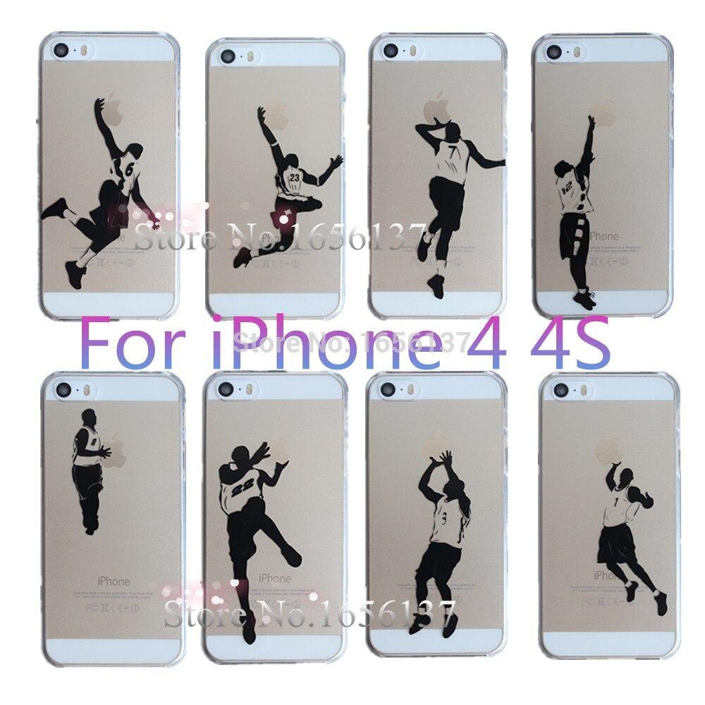 Funda protectora de móvil de plástico duro Ultra fino impresa a la moda con logotipo personalizado de estrella deportiva creativa para Apple iPhone 4 4S