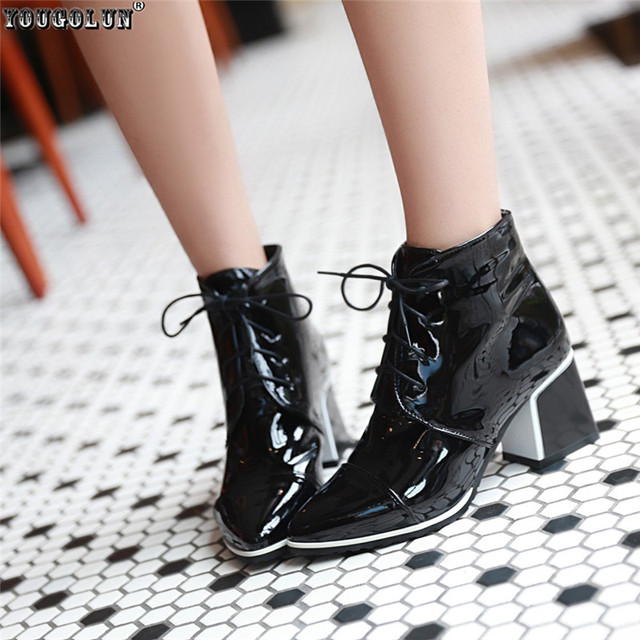 YOUGOLUN womens Patent PU Black White red women fashion boots winter autumn shoes woman Lace up sexy Pointed Toe ankle boots