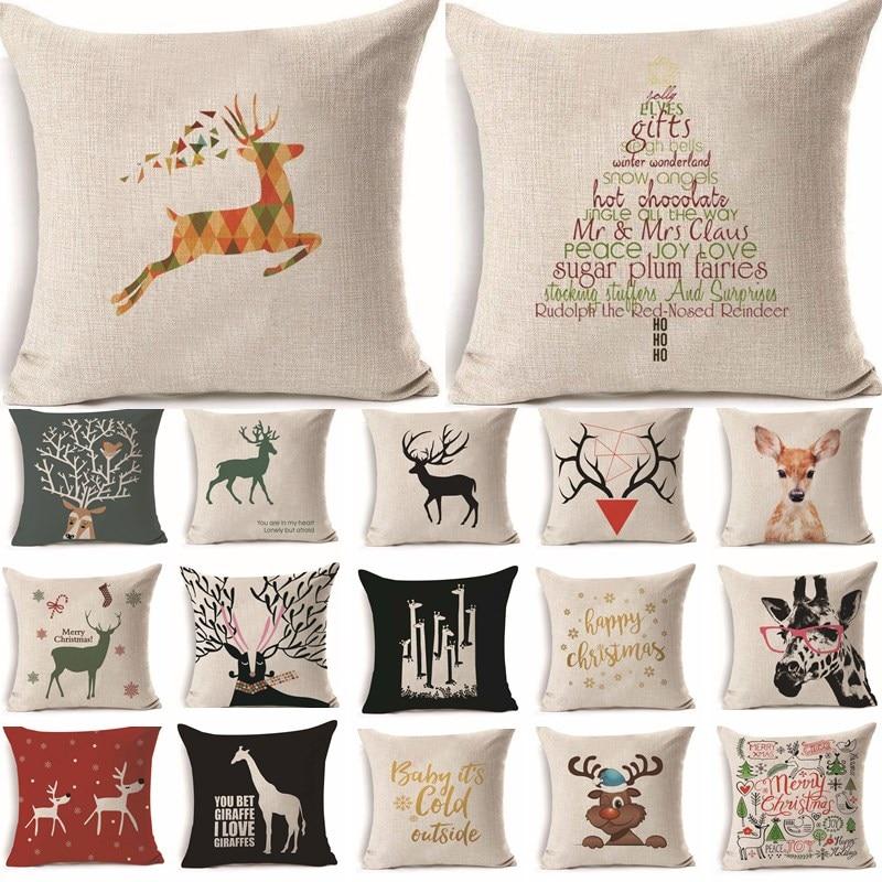 1Pcs 45*45cm Fashion Deer Pattern Cotton Linen Throw Pillow Cushion Cover Car Home Sofa Decorative Pillowcase funda cojin 40223