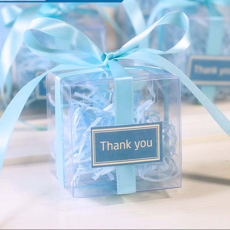 100 Pieces/lot Clear square PVC Birthday Gift Box Wedding Favor Holder Transparent Chocolate Candy Boxes 5x5x5cm