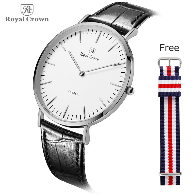 Ultra Thin Royal Crown Men's Watch Women's Watch Japan Quartz Classic Simple Nylon NATO Lovers' Couple Hours Fashion Gift
