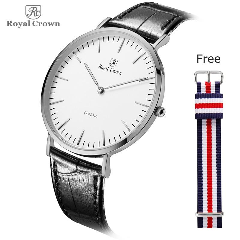 Ultra Thin Royal Crown Men's Watch Women's Watch Japan Quartz Classic Simple Nylon NATO Lovers' Couple Hours Fashion Gift