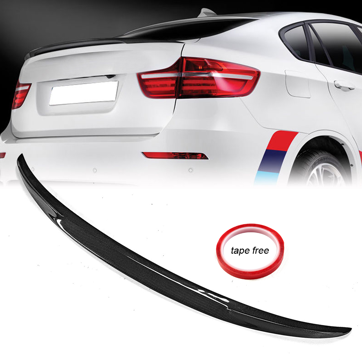 New Auto Car Spoiler Wing for BMW Performance Style Real Carbon Fiber Rear Trunk Lip Spoiler Wing For 2008-2014 for BMW E71 X6 carbon fiber auto car rear trunk wing lip spoiler for audi for a3