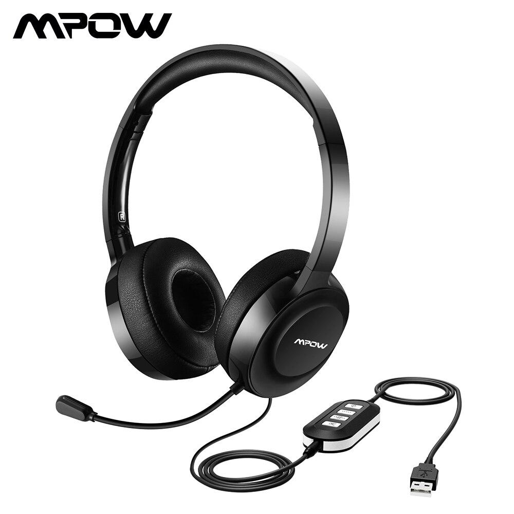Mpow 158A auriculares con cable USB/3,5mm Plug auriculares con micrófono Cancelación de ruido para centro de llamadas y conferencia en línea para Win