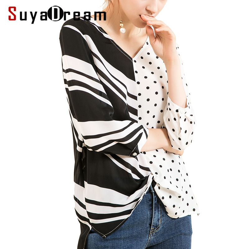 Women Silk   blouse   100% REAL silk crepe 3/4 sleeved Office Lady Printed   blouse     shirt   2018 Fall Winter new top Black White