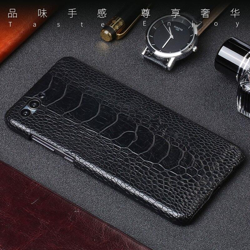 Véritable cas de téléphone En Cuir Pour Huawei Nova 2 s cas Naturel autruche pied peau pour Compagnon 9 10 pro Honneur 7X9 V9 V10 P8 P9 P10 Lite