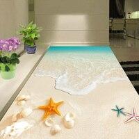 Custom 3D Floor Wallpaper Waterproof For Bathroom Beautiful Seascape Beach Waves Shell Starfish Wall Mural Non