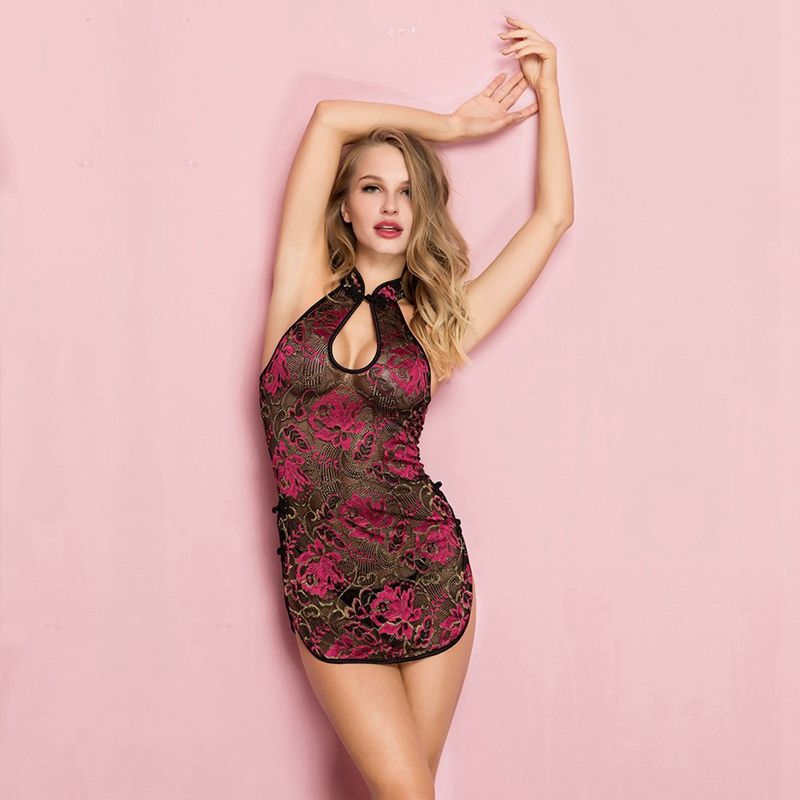 See-through Rose Embroidery Cheongsam Short BabyDolls Women Sexy Hollow Out Erotic Lingerie Porno Costumes Sexy Lingerie Dress