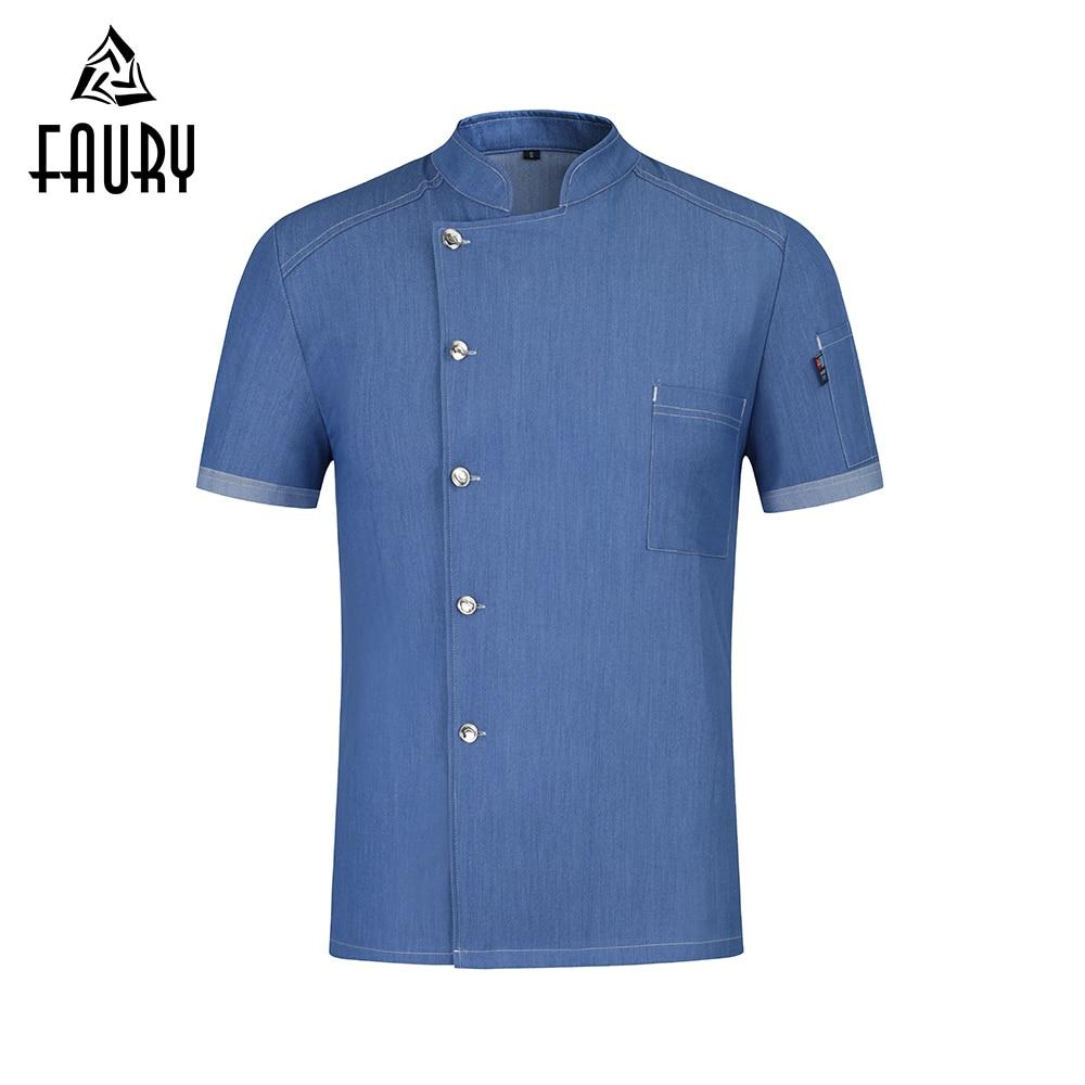 Chef Short Sleeve Jacket Stretch Denim Food Service Resistant Cook Shirt Hotel Kitchen Sushi Uniform High Quality Work Clothes