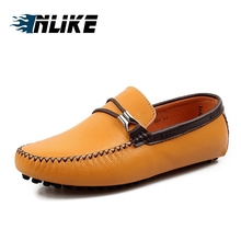 INLIKE Luxury Brand Natural Leather Boat Shoes Mens