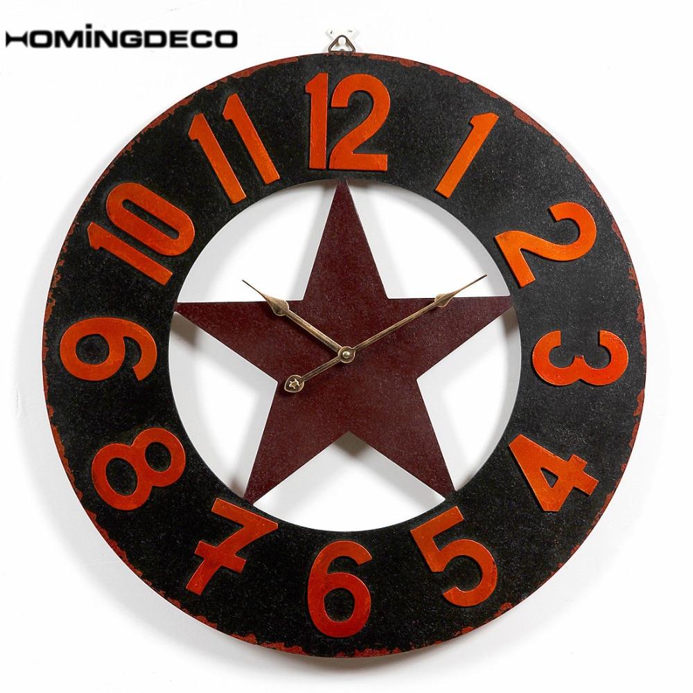 Homingdeco 24 inch large wall clock modern design Vintage Retro Round Pentagram pattern Livingroom Clock Wall Clocks Home Decor