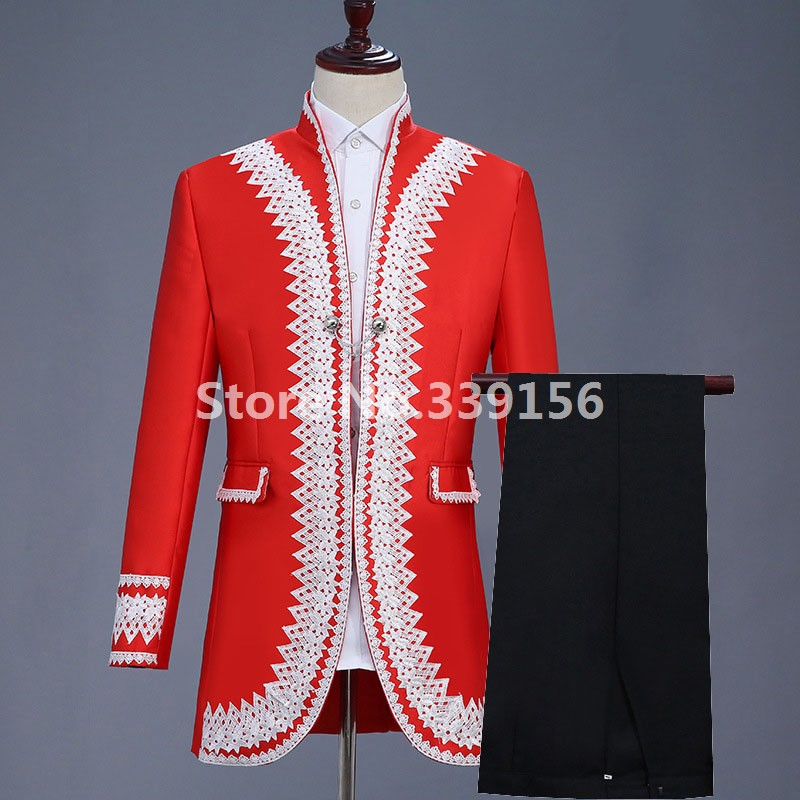 Men's 18th Century Suit Jacket Red Historical Gentleman's Suit Gothic Masquerade Gown Theater Outfit