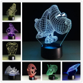 3D Novelty Light Table Lamp 7 Colors Changeable Acrylic LED Lamp Luminaria 3D Lights Animals Wars Kids Gift Toy