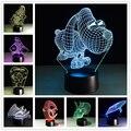 3d novelty lámpara de acrílico lámpara de mesa de luz de 7 colores cambiantes led luminaria lámpara 3d animales wars niños juguete de regalo