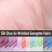 130CM Wide 6MM Thin Solid Color Shun Xu Georgette Wrinkled Silk Fabric for Summer Long and Short Dress Skirt Shirt B009