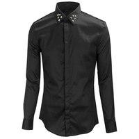 Luxury Brand Men Shirt Chemise Homme 2015 Fashion Design Long Sleeve Mens Dress Shirts Punk Rivet
