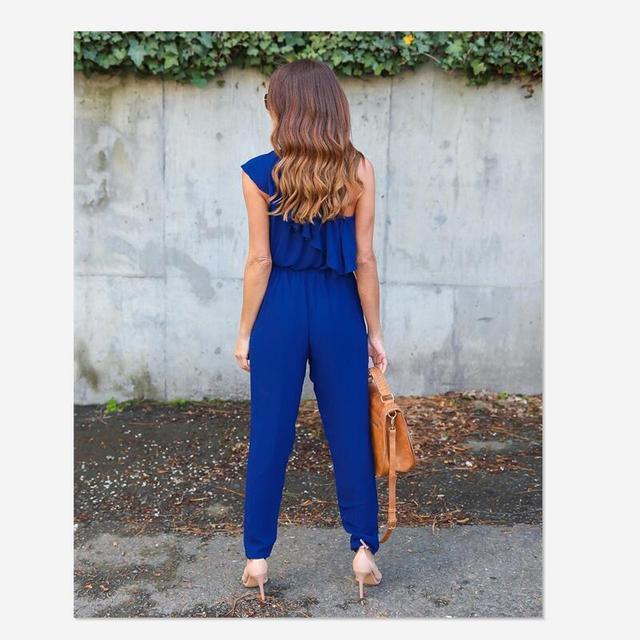 2018 summer Chiffon skinny solid jumpsuits irregular ruffles Bow tie belt jumpsuits office lady women jumpsuits