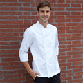 Cook suit summer short-sleeve pure white breathable double breasted work wear black collar chef shirt cook uniforms