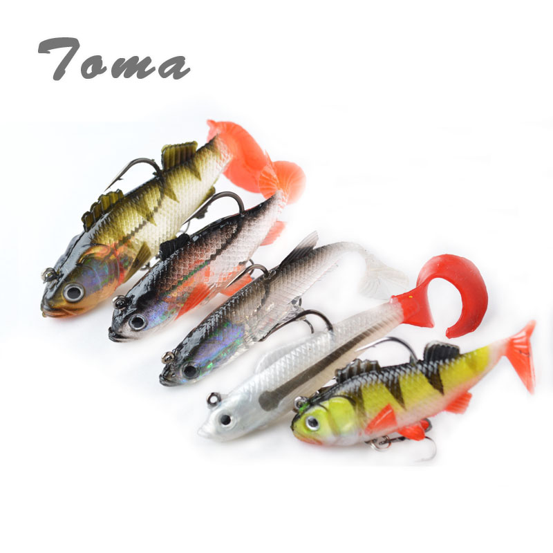 TOMA Lead Fish Fishing Lures Soft Bait 9g/13g/14g/18g Soft Lure T Tail with 2 Treble Hooks fishing tackle bass Lure 10pcs pack fishing lure soft bait 85mm 2 8g t tail soft fish swimbait soft plastic worm bait soft lures artificial lures as05