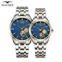 GOLGEN пара деловые часы для любимых, из нержавеющей стали простые элегантные для мужчин женщин Скелет циферблат наручные