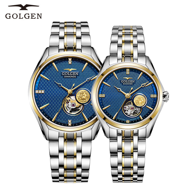 GOLGEN Couple Mechanical Watches Lovers Stainless Steel Simple Elegant  Men Women Skeleton Dial WristwatchGOLGEN Couple Mechanical Watches Lovers Stainless Steel Simple Elegant  Men Women Skeleton Dial Wristwatch