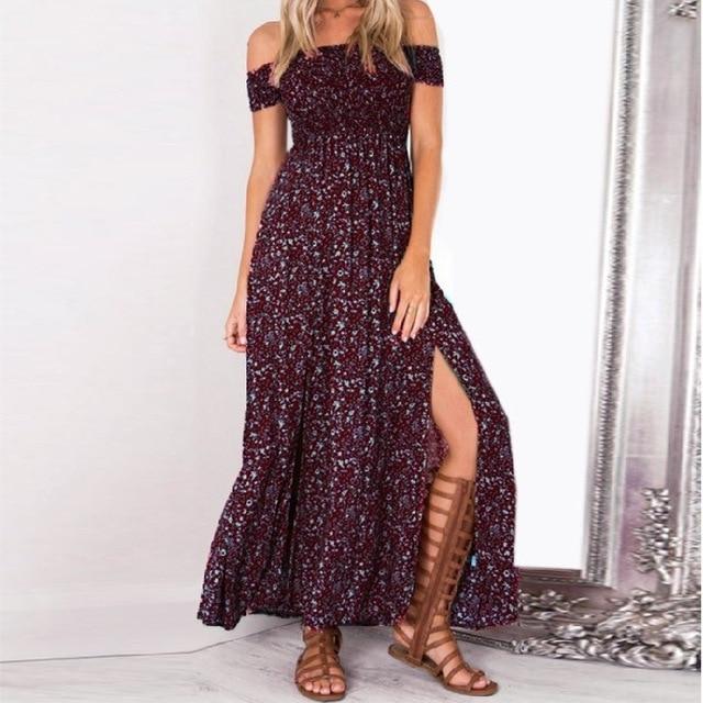 Boho Floral Women Split Long Dresses